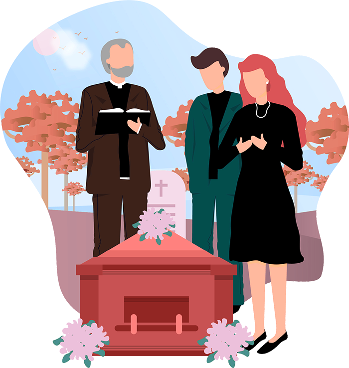 A funeral service scene, a priest stands with a funeral director and a woman over a casket as they use funeral webcasting.