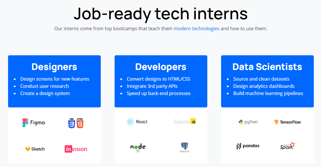 hire a designer intern, developer intern, or data scientist intern at Prentus