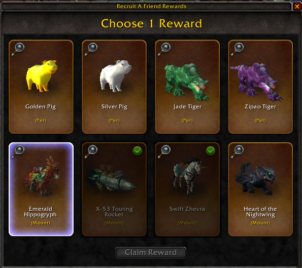 wow recruit a friend mounts and pets