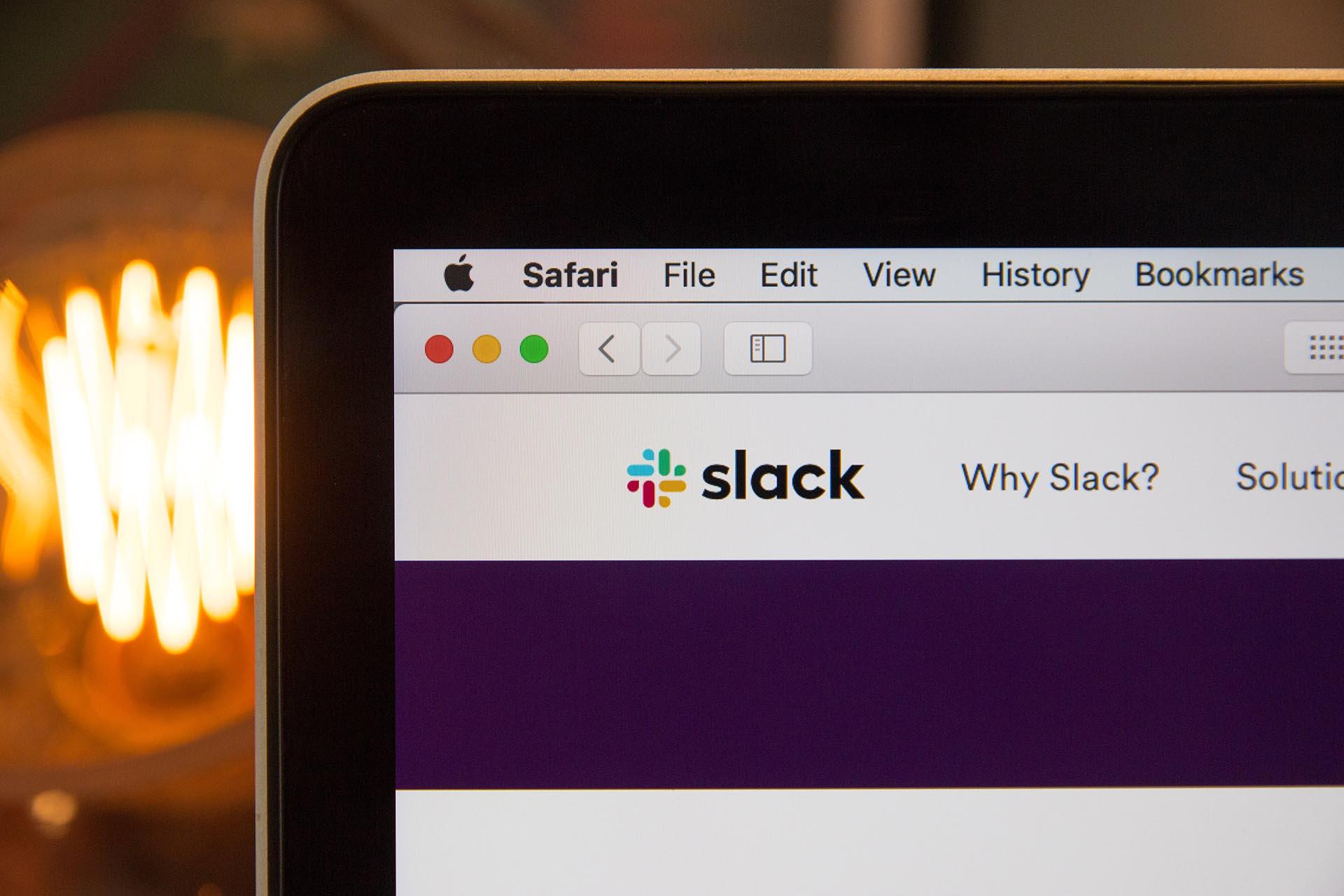 Slack homepage on Safari