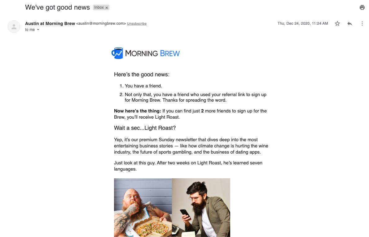 Morning Brew referral program