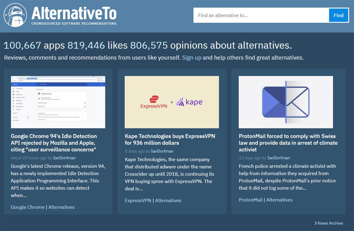 AlternativeTo software comparisons
