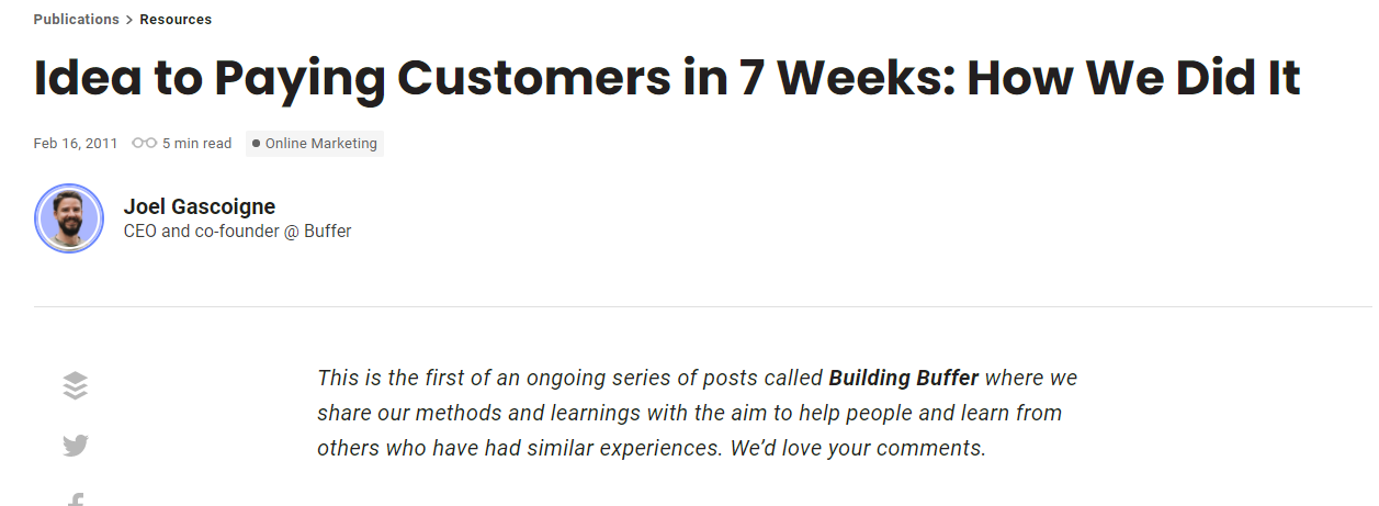 Building Buffer open startup