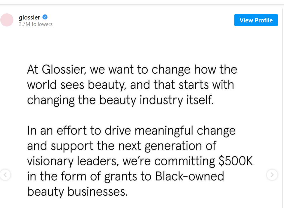 Glossier BLM Campaign