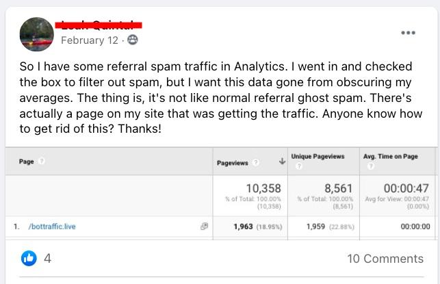 bot spam traffic in Google Analytics