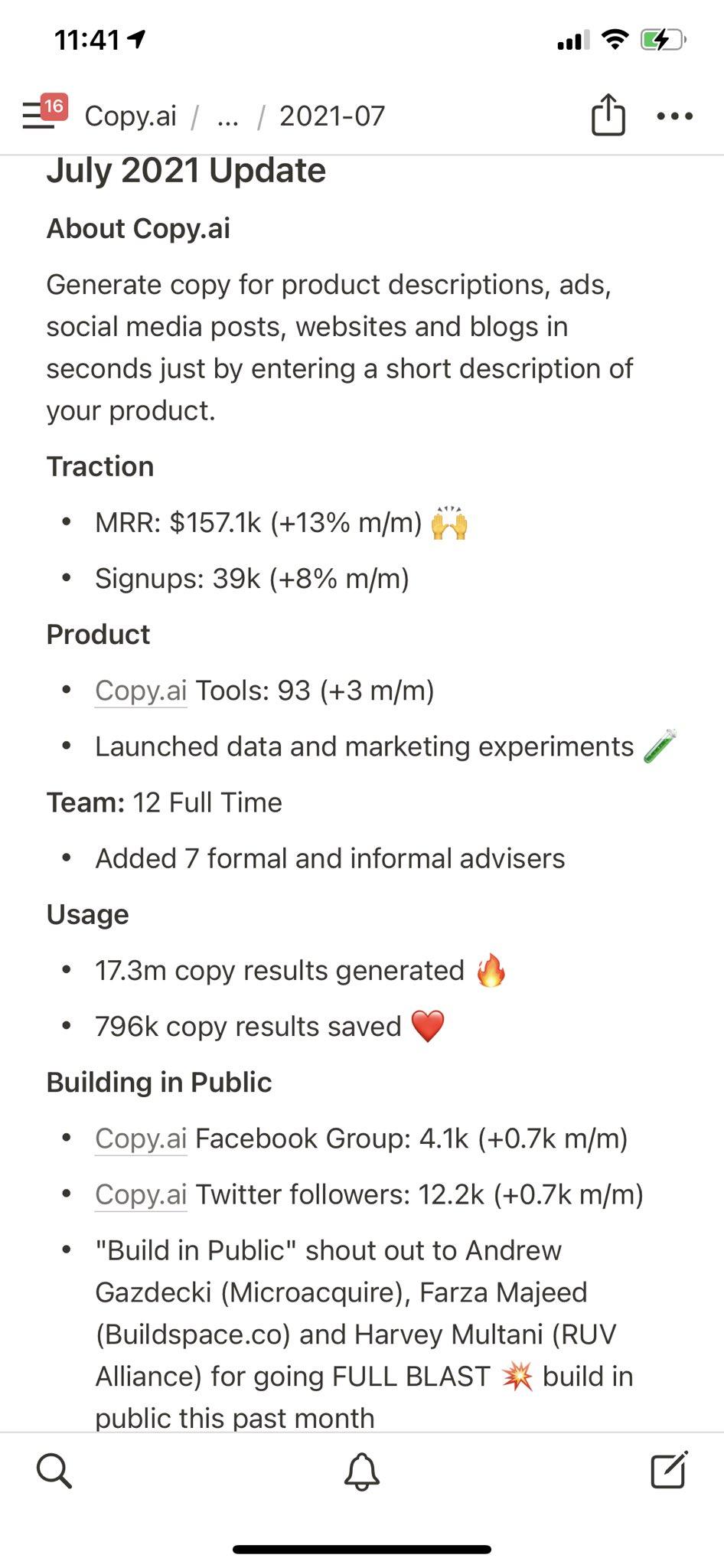 CopyAI monthly update