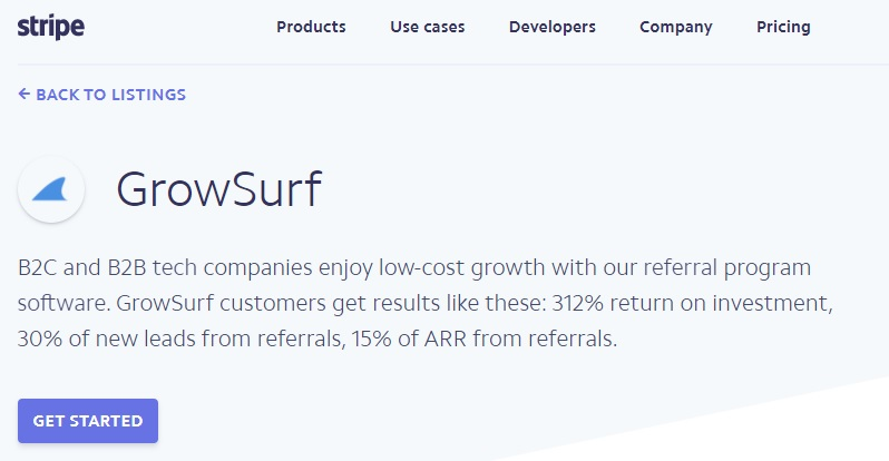 Stripe GrowSurf partnership