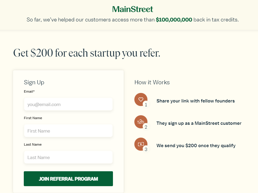 MainStreet Financial referral program example