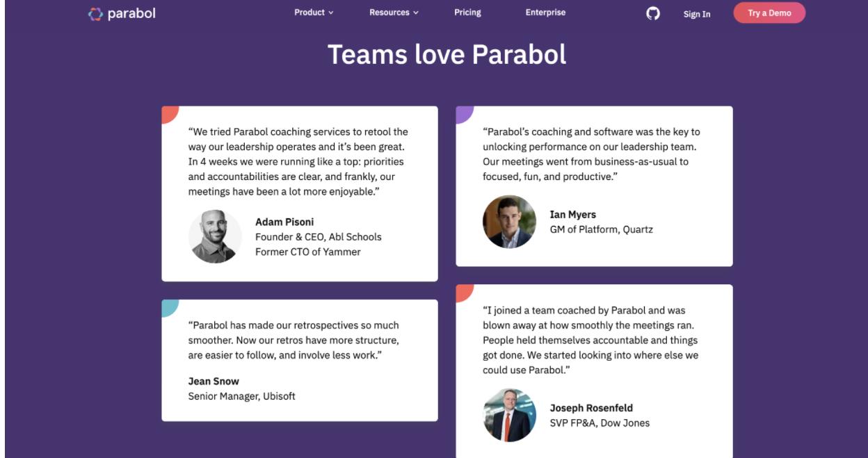 word of mouth marketing Parabol - Growth Through Customer Testimonials