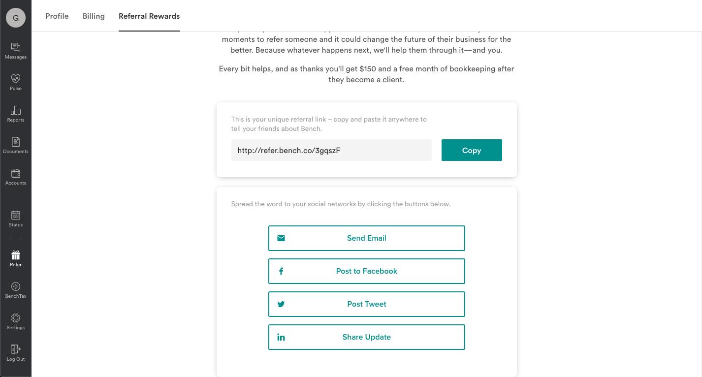 Bench embedded referral portal