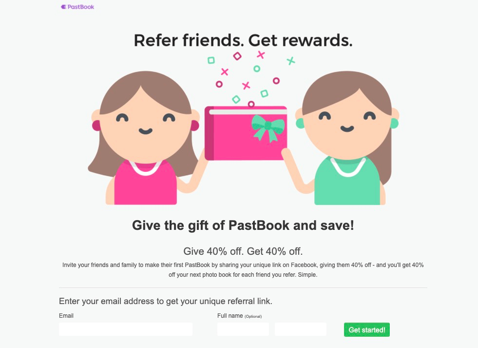 PastBook referral landing page