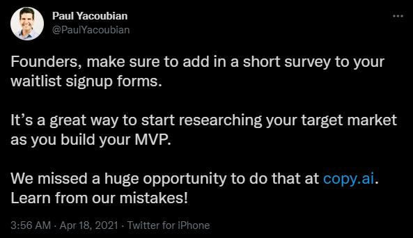 CopyAI open startup - feedback loop