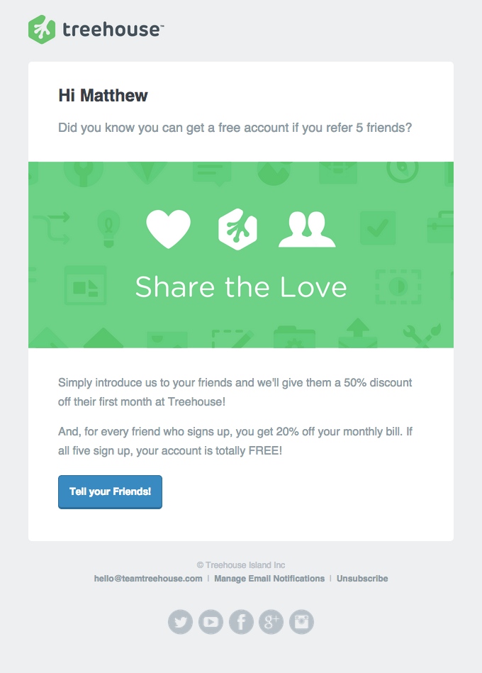 treehouse email marketing example