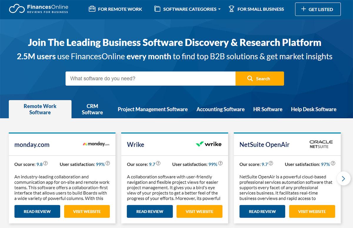 FinancesOnline software review site