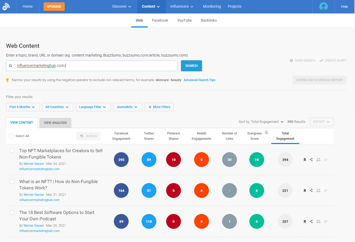 BuzzSumo content research tool