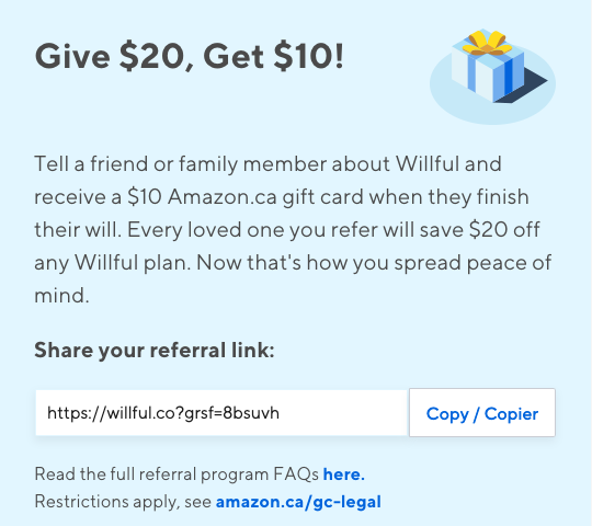 Willful referral program example