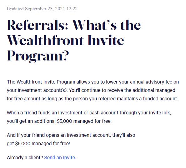 Wealthfront referral program