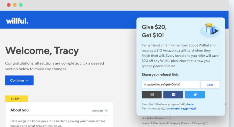 financial referral program example screenshot