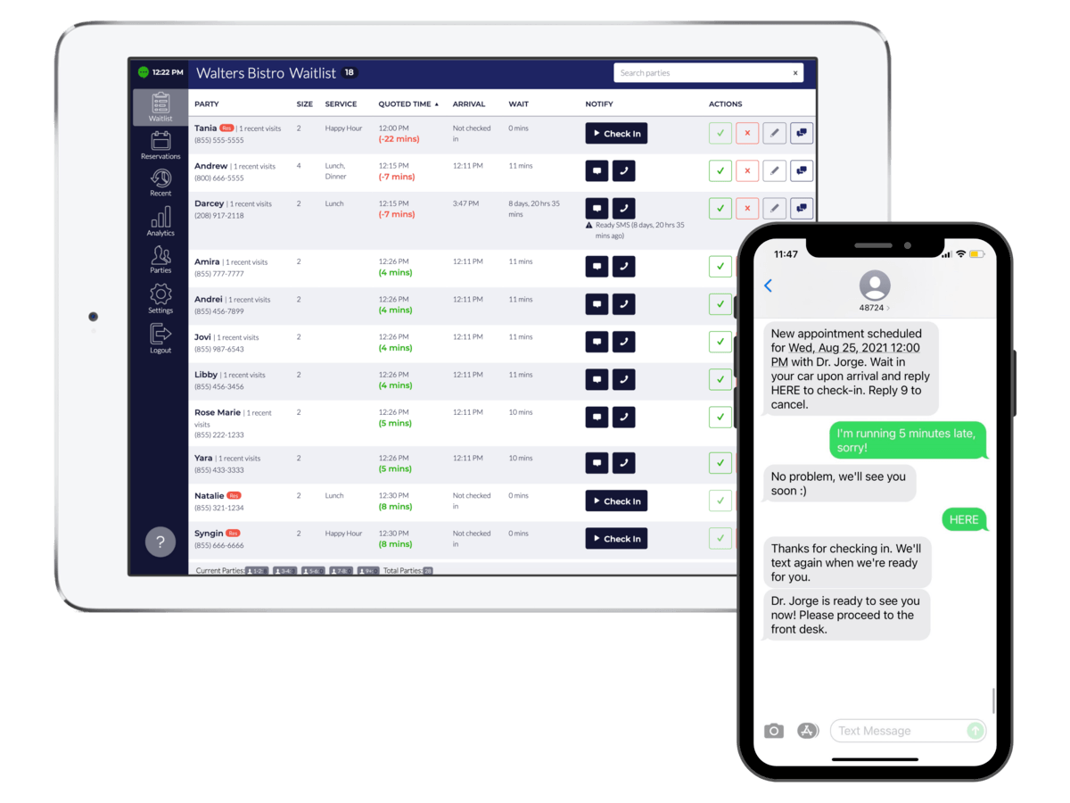 TablesReady waitlist and scheduling app and SMS screenshot